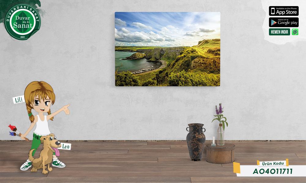 Duvardaki Sanat Yeşil Dünya Kanvas Tablo