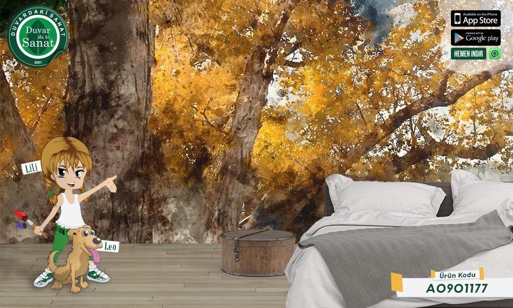 Duvardaki Sanat Suluboya Sonbahar Duvar Kağıdı