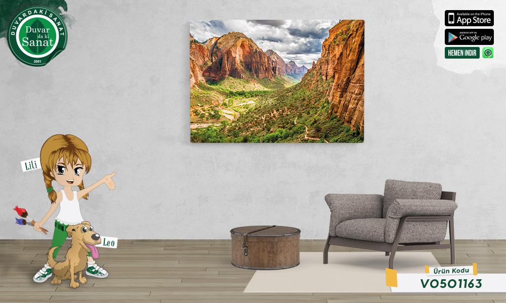 Duvardaki Sanat Zion Ulusal Parkı Kanvas Tablo