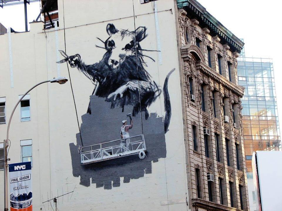 huge banksy rat mural