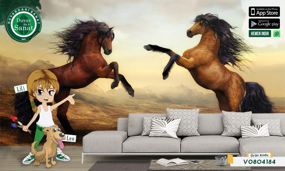Duvardaki Sanat Şahlanmış Atlar Duvar Kağıdı