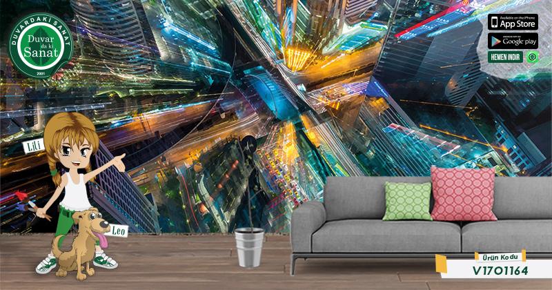 Duvardaki Sanat Baş Döndürücü Işık 3 Boyutlu Duvar Kağıdı